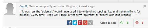 """If it was real the """"scientist"""" would have used it to write chart topping hits, and make millions (or billions). Every time I read DM I think of the term 'scientist' or 'expert' with less respect."""